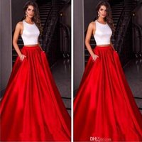 Halter Luxury Red Skirt Two Pieces Prom Dresses Satin Custom...