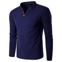 Men Blouse Shirt Casual Linen Long Sleeve Solid Pullover Swe...