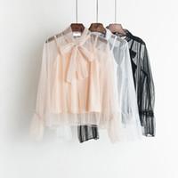 Litfun 2018 spring lady sweet sexy blouse ruffle sleeve pleated top night  club gauze mesh female blouse bow tie lace 2 pcs shirt 789d8f57cd35