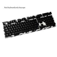 ABS أعلى طبع أسود أبيض شوت 104 تألق من خلال الخلفية كيكابس الخلفية شفافة OEM لوحة المفاتيح الميكانيكية MX