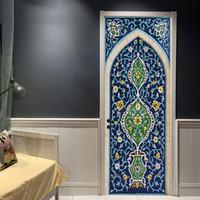 Kreative 3D Muslimischen Blauen Tor Tür Aufkleber Ramadan Schlafzimmer Tür  Entfernbare Wandaufkleber Wohnzimmer Dekoration