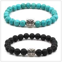 Bracelet de charme en pierre de lave noire naturelle turquoise hibou Bracelet en céramique de diffuseur d'huile essentielle vaolcano pierre