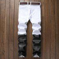 High Street Idopy Punk Style Noir et Blanc Casual Hommes Jeans Biker Hip Hop Night Club Slim Fit Imprimé Avec Fermetures À Glissière Pantalon De Jogging