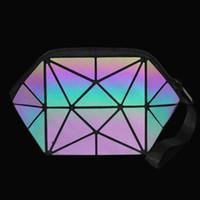 2018 Novo Geométrica Com Zíper Saco de Cosméticos Mulheres Luminosa Maquiagem Saco Das Senhoras Cosméticos Organizador Dobrável Viagem Make Up Bag atacado