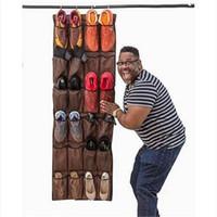 Freies Verschiffen Großverkauf-großer Taschen-Schuh-Organisator über Tür-Schuh-Gestell-Turnschuh-Gestell für Tür-Speicher-Halter-Zahnstangen