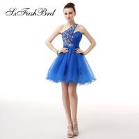Moda Elegante Rebordear Un hombro Mini Corto Una línea Fiesta de tul azul Vestidos de noche formales Vestido de fiesta vestido de fiesta