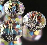 300 pz Inizio 6mm Cancella Bianco AB sfaccettato cristallo Rondelle distanziatore perline perline di gioielli fai da te