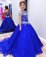 Vestidos del desfile de Royal Blue Girls 2019 Cristales con cuentas Mangas sin respaldo Princesa Vestido de bola para niños Ropa formal Vestido de niña de flores