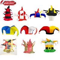 NUOVO 1pc Multicolor Clown Jester Circo Joker Cappello con Campane Costume Party Accessori fancy dress partito Mardi Gras Carnival Hat