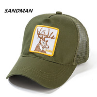 SANDMAN Deer Baseball Cap Cotton Breathable Mesh Snapback Ca...