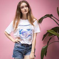 O-Neck Anime Larmes Filles Pleurer Windows 98 T-shirt imprimé cawaii Harajuku Ulzzang Corée Japon Cartoon Femme Nouveau Casual solide