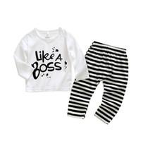لطيف طفلة ملابس القطن طويل الأكمام شريط إلكتروني تي شيرت + سروال أطفال 2PCS البدلة بيبي بوي الملابس مجموعات