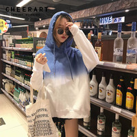 Cheerart Harajuku Толстовка Женщина Хлопок Gradient Белой Толстовка флис Толстовки Пуловеры Пот Femme Fall 2018