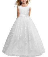 저렴한 재고 있음 화이트 볼 가운 꽃 파는 소녀는 작은 소녀를위한 공주 미복 한 드레스 드레스 저렴한 앵클 길이 성찬식 드레스 MC1045