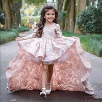 Lace Girls Pageant Dresses Long Sleeves V Neck High Low Firs...