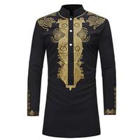 hommes automne chemise mode haut imprimé style africain taille Casual grande chemise à col manches longues blanc bleu noir