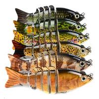 Новый Split Tail Musky Crankbaits 6 секций Рыболовные приманки Крючки 10.6g 9см Super Vivid реалистичные пластиковые сегменты жесткая приманка