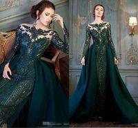 Modester esmeralda caçador de manga longa de manga longa vestidos formais com trem destacável Lace Lace frisado de sereia vestido de desgaste