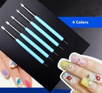 5 pcs / Set Double Tête Ongles Dotting Pen Nail Art Dotting Outils Peinture Dotting Ombrage Double Fin Outil Set Acrylique Poignée 4 couleurs