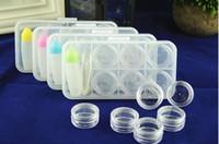 Maintenant chaud vente 6 Grille Transparent Contact Lens Display Box Case Cas Lunettes Lunettes Cas Cas expédition
