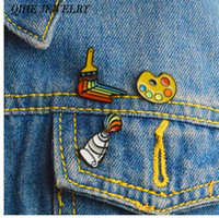 QIHE JEWELRY 3pcs / set Peinture Outils Épingles Émail Palette Peinture Tube Brosse Broches Badges Épinglettes Cadeau pour Artiste Peintre