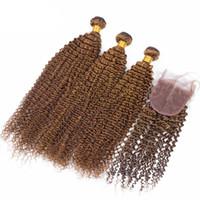 Новое прибытие Чистый коричневый цвет Kinky Curly Hair Bundles с кружевным закрытием Коричневый цвет Девичьи волосы сплетены с верхним закрытием 4шт / лот