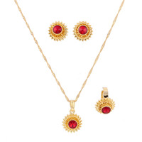 Ethiopian Jewelry Set Gold Color Crystal Necklace Pendant Ea...