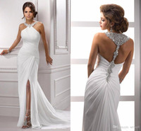 2018 Summer Mermaid White Chiffon Abiti da sposa Sexy Split Backless Mermaid Abiti da sposa Lungo in rilievo di cristallo Abito da sposa economici