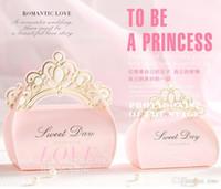 Bomboniere Bomboniere Scatole di caramelle Corona Scatole regalo di cioccolato Carta romantica Sacchetto di caramelle Box Party Bomboniere Pink Princess Wedding Candy Boxs Boxes Favori