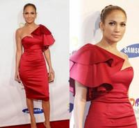 Jennifer lopez vermelho vestidos de noite curta joelho comprimento cetim cocktail vestidos mangas delicadas celebridades vestidos de festa vermelho vestidos de tapete vermelho