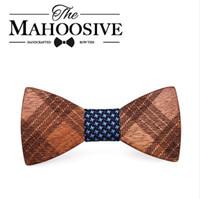 Mahoosive pajaritas de madera para hombre trajes de boda pajarita de madera forma de mariposa bowknots gravatas delgado corbata