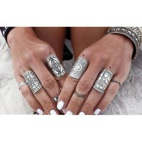 4PCS Set Hot Sale Bohemia Vintage Rings Set Ethnic Carving T...