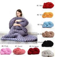80 * 100 cm Bulky Knit Throw Chunky Sofá Cobertor Feitos À Mão Pet Bed Chair Tapete Rug Air Condition Bed Tecer Cobertores De Fotografia De Malha
