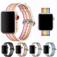 Rainbow Woven Nylon Band For Apple Watch 42mm 38mm Strap iwa...
