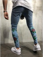 Men Rose Flower Embroidery Jeans Light Blue Slim Fit Fashion...