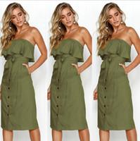 Женщины сексуальные летние повседневные сплошные цвета MIDI платья женские без бретелек без спинки спинки с пугалами створок рюша