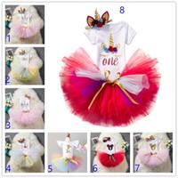 2020 Baby Girl Одежда 1-й день рождения торт разбить наряды Младенческая одежда 3шт наборы ползунки + туту юбка + ручной работы с цветочной крышкой новорожденных