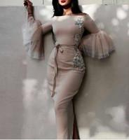 2020 New Elegant Long Sleeves Sheath Evening Dresses Appliques Embroidery Off Shoulder Formal Evening Gowns Back Split Prom Dress 2017