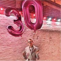 2 pz / lotto 40 pollici Numero 30 Palloncini Foil Elio Ballons 30th Year Old Birthday Party Decorazioni di nozze Forniture per feste