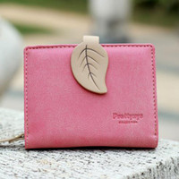 New Women Leaf Hasp Wallet Fashion Short PU Leather Coin Pur...