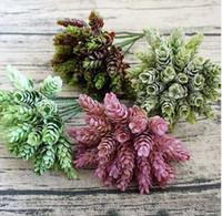 30 têtes / paquet de plantes artificielles de cône de pin fleurs artificielles pour la décoration de la maison pompon fleurs d'herbe d'ananas artificielles