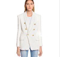 Top Qualität Persönlichkeitsstil Damen Zweireiher Blazer Original Design Slim Shaggy Jacke Metall Schnallen Mantel Schal Kragen Outwear