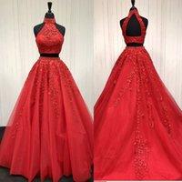 Sexy apliques de dos piezas Cuello alto Vestido de fiesta de tul de encaje rojo largo Una línea Vestido de noche de encaje de tul largo elegante rojo