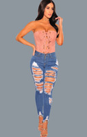 Women Skinny Hole Jeans Blue Ripped Distressed Denim Pants Z...