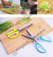 Edelstahl Schere 5 Schichten Gewürze Cutter Gehackte Grüne Zwiebel Schneiden Schere Kochwerkzeug Multifunktionale Küchenmesser