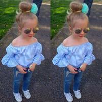 New Girls Cowboys Denim populaire Pantalons Mode rayé bleu T-shirts et de pantalons longs enfants Costume