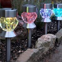 Mudança de cor led SOLAR lâmpada do gramado DIAMOND Abóbora em forma de ip65 LEVOU lâmpada da paisagem do jardim Solar Luz Do Solo decoração Do Feriado Luz inoxidável
