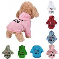 Vêtements pour animaux de compagnie chiot hiver et automne chandail à capuchon manteau pour chien sweat chaud aimer ma maman shirt imprimé