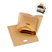내열 비 접착 성 토스트 빵 가방 샌드위치 빵 그릴 전자 레인지 봉투 재사용 가능한 토스터 가방 코팅 유리 섬유