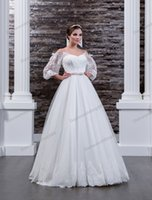 Beauty White Lace Tulle Straps Sleeves A- Line Wedding Dresse...